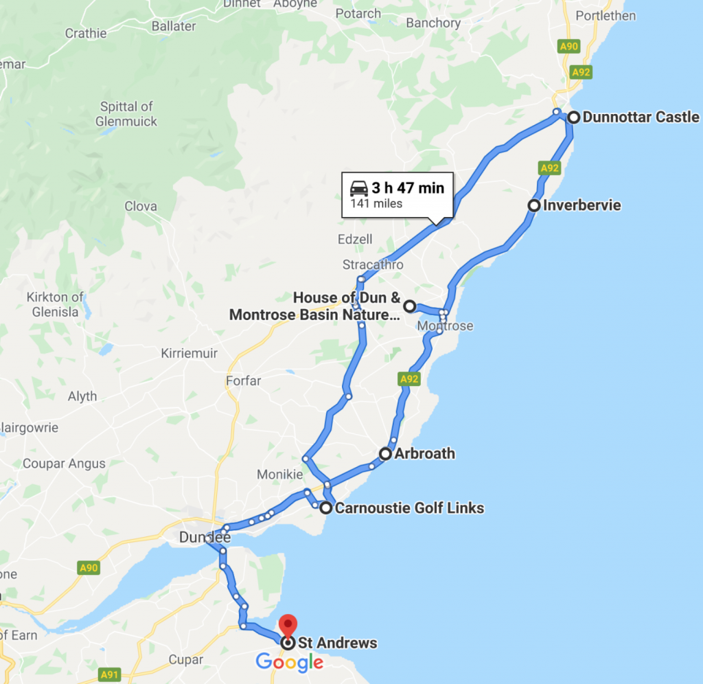 Sample tour St Andrews to Carnoustie followed by sightseeing Dunnottar Castle, House of Dun, Arbroath Abbey (Declaration of Arboath 1320), Arbroath Smokies